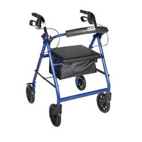 Aluminum Rollator with Fold Up and Removable Back Support, Padded Seat, with Loop Locks with 8 Casters and Basket