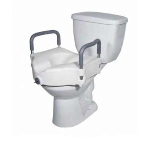 2-in-1 Locking Elevated Toilet Seat with Tool-Free Removable Arms