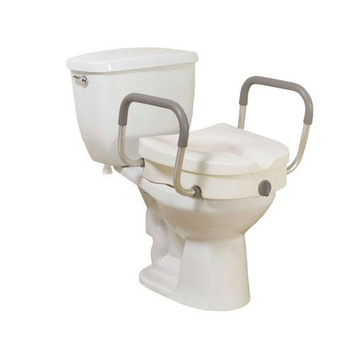 Knock-Down 2-in-1 Locking Elevated Toilet Seat with Removable Arms