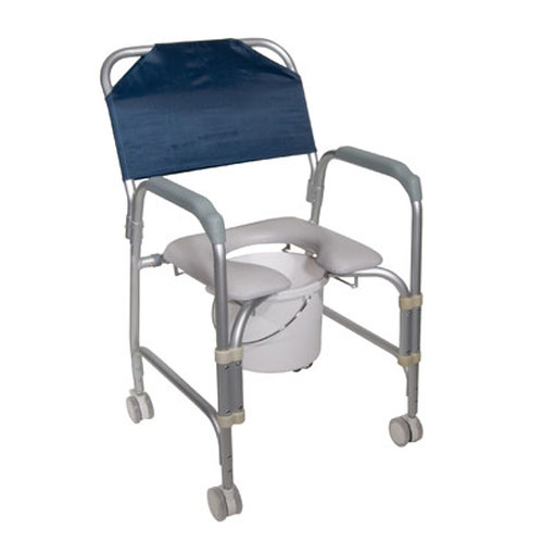 Knock Down Aluminum Shower Chair / Commode with Casters